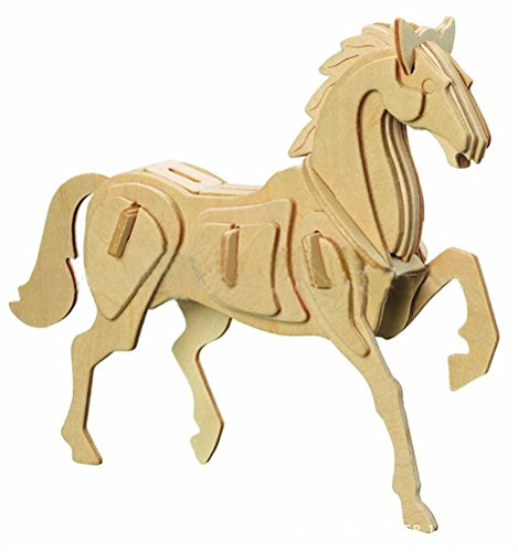 Dlong 3D DIY Assembly Construction Jigsaw Puzzle Handmade Educational Woodcraft Lovely Horse Steed Wood Model Kit for Adult Children -