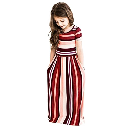 FEITONG Fashion Cute Baby Girls Striped Hit Color Long Dress Kids Party Beachwear Dresses (Red, 2-3T) ()