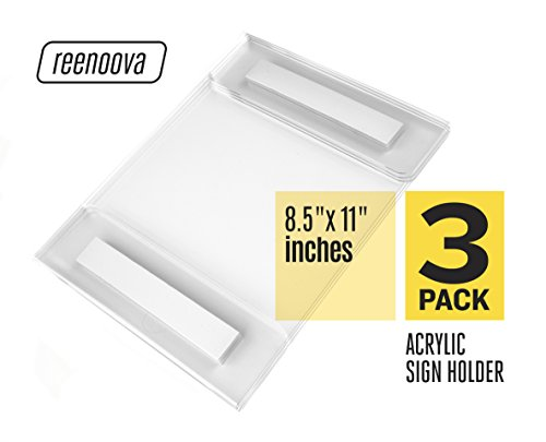 Acrylic Sign Holder Wall Mount 8.5 x 11 Horizontal and Vertical with Strong Adhesive, No Drilling - Premium Quality 2 mm Thick Clear Acrylic, - Perfect for your Home and Business (Vertical Wall Sign Holder)