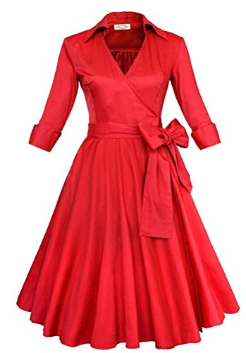 Red Silk Christmas Dress (DRESHOW Vintage Short Sleeve V-neck Tunic Party Cocktail Big Swing Dress Red)