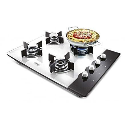 Prestige Hob Glass Top 4 Burner Auto Ignition Gas Stove, Black and White