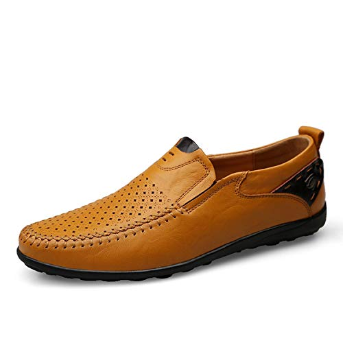 Male Summer Men On Casual Summer Shoes Flats Yellow Men Loafers Genuine Men Slip Leather Brown34 Breathable X7qFpOO