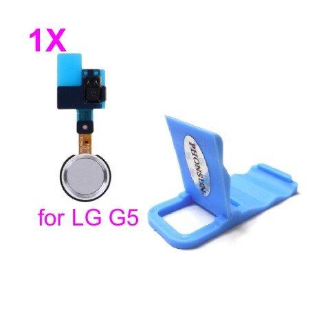Home Button Fingerprint Flex Cable for LG G5 H820 H830 H831 H840 H850 VS987 LS992 US992 RS988 + PHONSUN Portable Cellphone Holder (Silver/White)