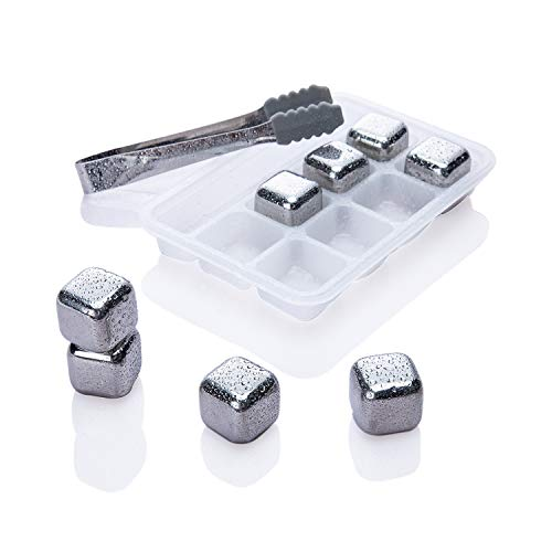 (Whiskey Stones Ice Cubes - Set of 8 Stainless Steel Reusable Whisky Chilling Frozen Rocks with Nonslip Rubber 'n Tongs & Plastic Storage Tray Silver for Wine Beverage Juice or Soda)