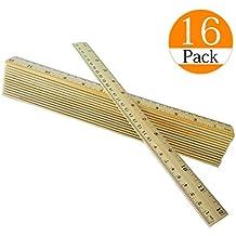 Topspeeder 16 Packs Wood Ruler 12 inch 30 cm Student Rulers Wooden School Rulers Office Ruler Measuring Ruler, 2 Metric Scales