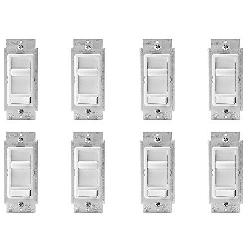 Leviton 6674-P0W SureSlide Universal 150-Watt LED and CFL/600-Watt Incandescent Dimmer, White, 8 Pack