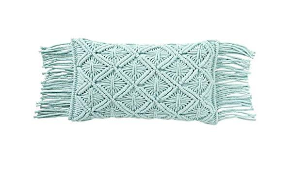J-line - Cojín macramé Largo algodón Aqua: Amazon.es: Hogar
