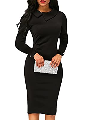 AlvaQ Women's Retro Lapel Long Sleeve Bodycon Midi Dress