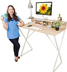 Stand Steady Joy Desk | New & Improved | Modern Stand Up Workstation with Storage Cubbies | Pretty Standing Desk with Large Desktop | Multifunctional Table for Home & Office (Maple / 48 x 42)