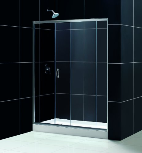 Drain Amazon Center (Infinity Sliding Door Shower Set with Center Drain Amazon Base Finish: Brushed Nickel, Glass Type: Clear Glass, Size: 32