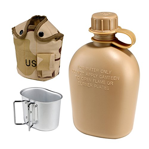 en Tactical Water Bottle G.I. Style Aluminum Army Drink Water Bottle with Camping Cooking Cup & Insulation Cover Pouch (Military Canteen Cup)