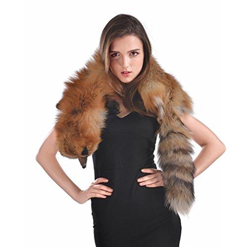 OLLEBOBO Women's Genuine Fox Fur Scarf Winter Elegant Shawl Pashmina red fox by OLLEBOBO