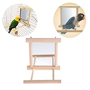 Parrot toys ,NNDA CO 1 Pc Pet Bird Mirror Wooden Play Toy with Perch For Parrot Budgies Parakeet Cockatiel Conure Finch Lovebird ,Wood+Glass 29