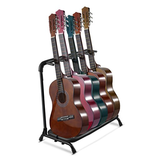 Multi Guitar Stand 5 Multiple Holder Instrument Display Stand Folding Padded Storage Organizer Rack Band Stage Bass Slot for Electric Acoustic - Bass Rack