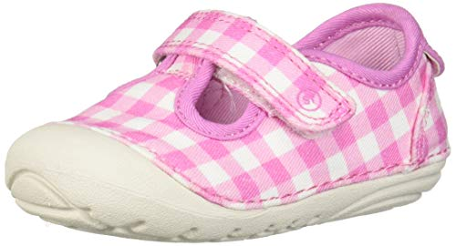 Stride Rite Soft Motion Hanna Girl's T-Strap Sneaker Pink Gingham 3 M US Little Kid