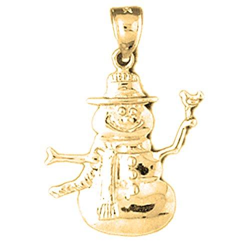 Jewels Obsession Snowman Charm Pendant | 14K Yellow Gold Snowman Pendant - 29 mm