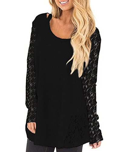 Sexy Femme Noir Longues Shirt ACHIOOWA Col Tops Rond Manches Casual Dentelle Lache Tunique Pull HqROOEd