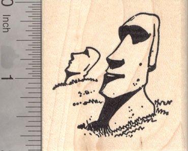 (Easter Island Heads Rubber Stamp, Moai Statues, Rapa Nui People )