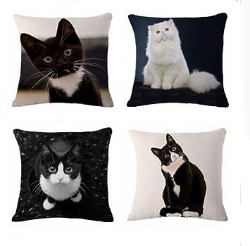 4 unds. fundas de cojin gatos mix absolutamente ideales para cualquier ricon de nuestra casa, caravana, jardin, terraza de 45 X 45 cm de CHIPYHOME: ...