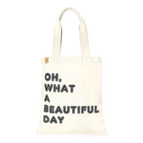 (Me Plus Eco Cotton Canvas Stylish Printed Fashion Shopping and Travel Tote Bag (OH, WHAT A BEAUTIFUL DAY))