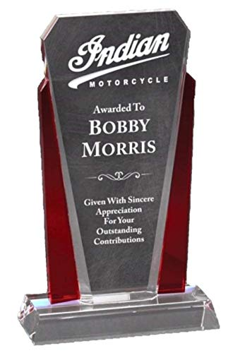 NWA Beautiful Red Crystal Trophy, Award, Achievement, Wedding, Graduation Plaque, Glass Award, Police, Corporate, Firefighters Awards with Free Personalization
