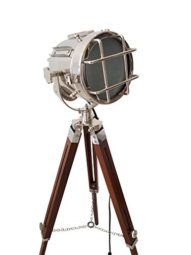 Antique Royal Maritime Searchlight Silver Finish with Wooden Adjustable Vintage Tripod LED Floor Lamp Home Decorative Spotlight,(