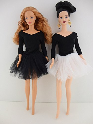 A Set of 2 Totally Fun Black Dresses with Colorful Tulle Skirts of White and Black Made to Fit the Barbie Doll