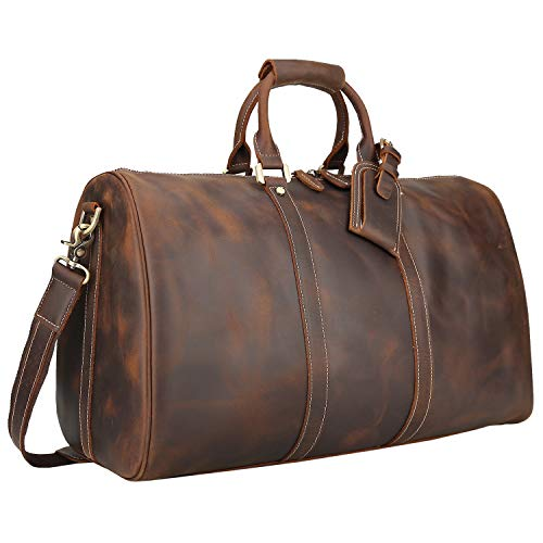 - Polare Men's 20'' Retro Real Leather Weekender Duffel Overnight Bag Carry On Luggage