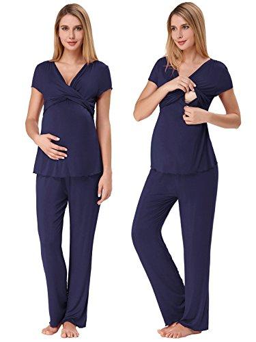 Maternity Pajamas for Women Plus Size Comfy Loose Sleepwear Set Navy Blue XL ZE45-4