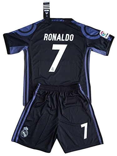 [Real Madrid 2016-17 Ronaldo #7 Champions League Youths 3rd Soccer Jersey & Shorts Set (7-8 years old)] (Real Football Kit)