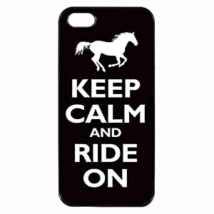 Keep Calm and Ride On Horse Pony Unipue Custom Image Case iphone 4 case , iphone 4S case, Diy Durable Hard Case Cover for iPhone 4 4S , High Quality Plastic Case By Argelis-sky, Black Case New