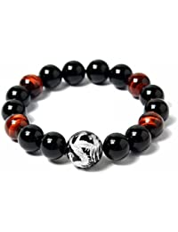 Men's Tiger Eye Stretch Bracelet Dragon King Pattern Bead(Silver&Yellow)