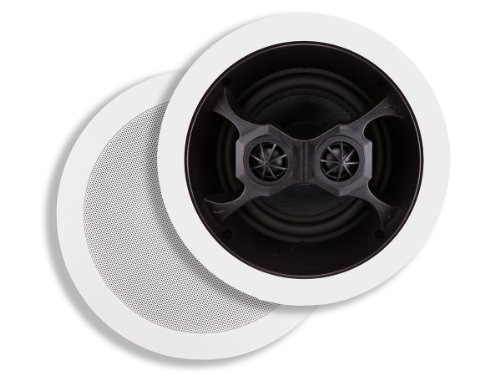 Monoprice 104619 Glass Composite 3-Way Dual Voice Coil In-Ceiling Speakers (Pair) by Monoprice