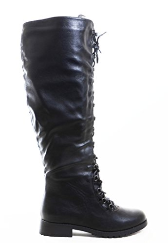 Knee High Lace Up Riding Faux Leather Thigh High Combat Boots