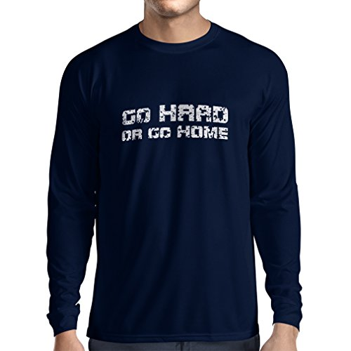 Long Sleeve t Shirt Men Go Hard or Go Home! - Sayings for Motorcycle, for Bike, for Skate, for Roller Riders (Medium Blue Multi Color)