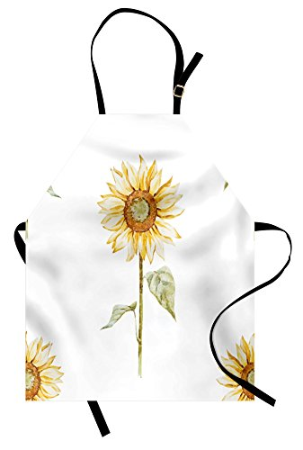 Sunflower Apron - Ambesonne Sunflower Apron, Sunflowers with Watercolor Painting Effect and in Minimalistic Design Artwork, Unisex Kitchen Bib Apron with Adjustable Neck for Cooking Baking Gardening, Yellow Green