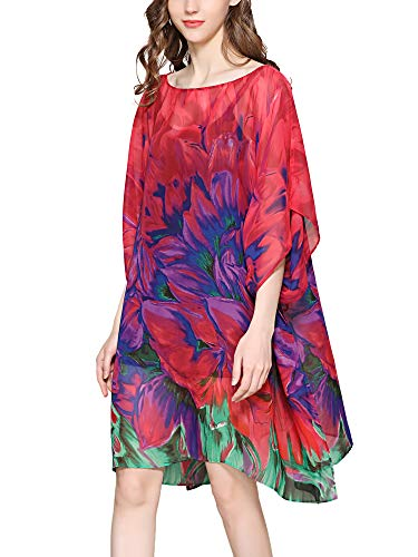 (Moss Rose Women's Swimsuit Cover up Beach Kaftan for Bathing Suit with Floral Pattern)