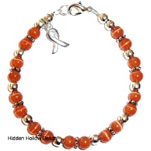 Bracelet, Leukemia Awareness or Fundraising Campaign, Orange by Hidden Hollow, (7 ¾ in.), 6mm