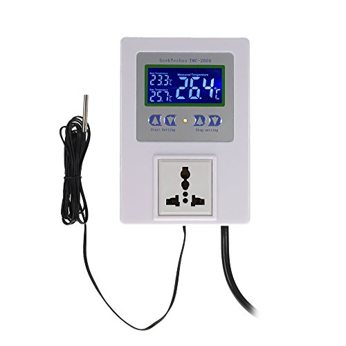 GeekTeches TMC-2000 AC110-240V 10A LCD Digital Intelligent Pre-wired Temperature Controller Outlet with Sensor Thermostat Heating Cooling Control (Telephone Thermostat Controller)
