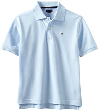 Tommy Hilfiger Big Boys' Short Sleeve Ivy Polo Shirt,Capri Blue,Small(8/10)