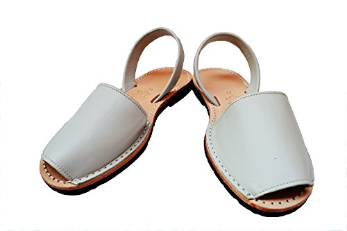 Spaniard 38 White Leather M M US Classic Avarcas White Sandals B 8 Menorquinas Off EU Simple 08n1qHdWc0