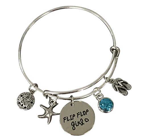 Infinity Collection Life is Better at The Beach Bracelet,Beach Jewelry, Flip Flop, Gift for Beach Women