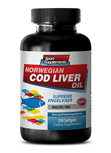 (Heart health - NORWEGIAN COD LIVER OIL with Vitamins A & D3/EPA & DHA - Fish oil omega 3 epa - 1 Bottle 250 Softgels)