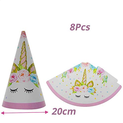 50Pcs Wedding Birthday Party Sweet Cellophane Clear Candy Cone Storage Bags Unicorn Party Decor Easter Decoration 18X37Cm,8Pcs Paper Hat]()
