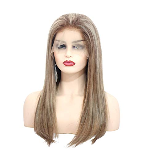 Pre Plucked Human Hair Wigs for White Women 150% Density Straight Lace Front Blonde Highlight Wig Chestnut Brown to 613 Blonde Balayage Glueless Frontal Wig 16 Inch
