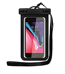 "Cloudio Universal Waterproof Case, IPX8 Cell Phone Dry Bag Pouch up to 6.2"" for iPhone X/8/8+/7/7+/6/6s/6s Plus, Samsung Galaxy S9/S9+/S8/S8+/Note 8, LG MOTO ZTE HTC Alcatel Google Sony BLU - Black"