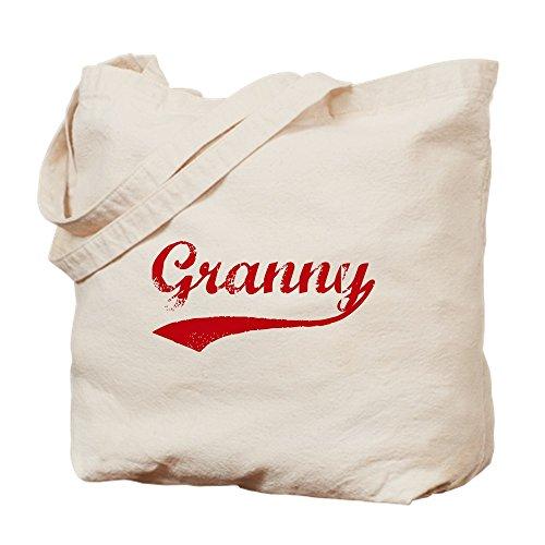 CafePress–Vintage (Rosso)–Granny Borsa di tela naturale, panno borsa per la spesa