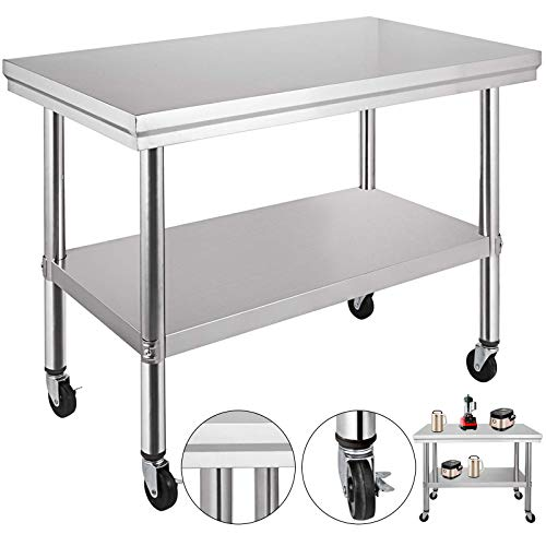 VEVOR Stainless Steel Work Table with Wheels 36x24 Prep Table with casters Heavy Duty Work Table for Commercial Kitchen Restaurant Business Garage (36x24)