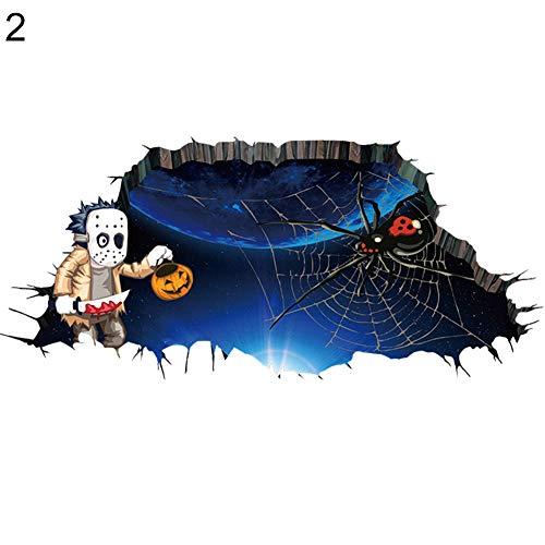 CHoppyWAVE Wall Sticker 3D Halloween Zombie Bat Spider Scary Break Through The Wall Sticker Poster Decal - 2# ()