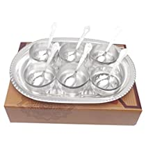 GSM Silver Plated Manchurian Bowl Set With oval Tray 13 Pcs. ( 22cmx30cmx4cm)